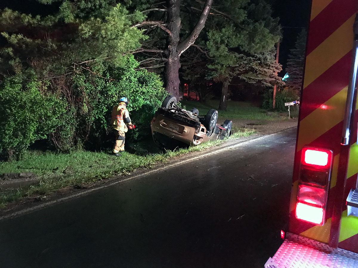 28 13 crew investigates overturned vehicle along Franklin Pike - Overturned Vehicle on Franklin Pike