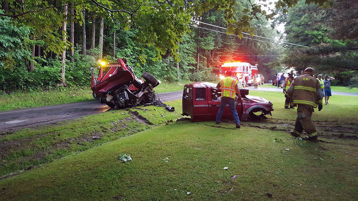 firefighters assist removal pickup wreck - Three MVAs, Fireworks Standby
