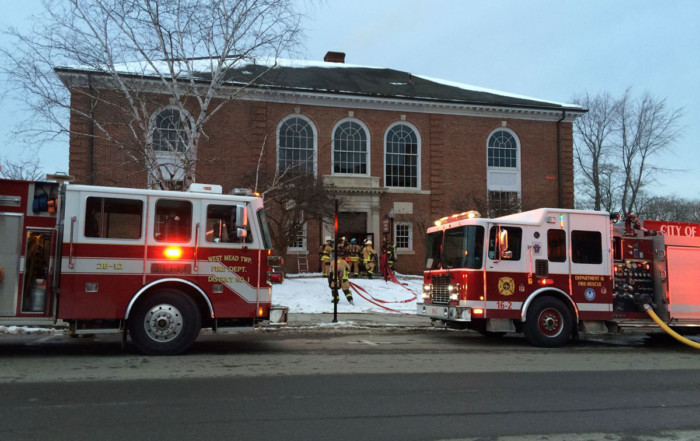 Engines 28-12 and 16-2 at Meadville Public Library (photo by Shannon Roae/Meadville Tribune)