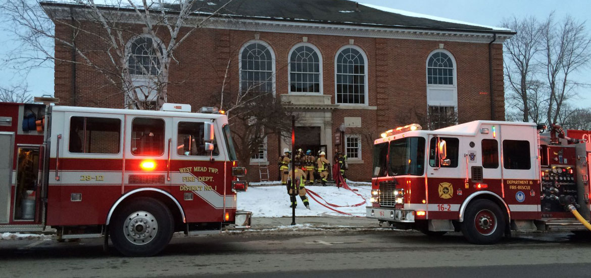 Engines 28-12 and 16-2 at Meadville Public Library, fire on Jan 31