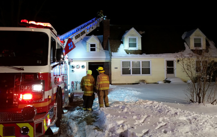 Vernon Central's 23-9 operating at a chimney fire along Cussewago Road