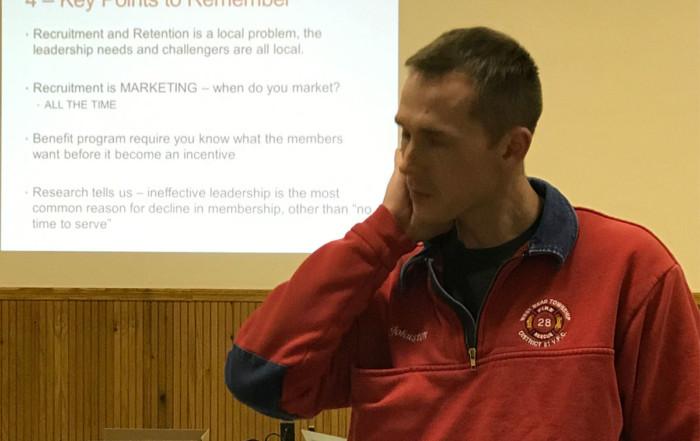 Fire Chief Brad Johnston at a recruitment and retention seminar in Edinboro