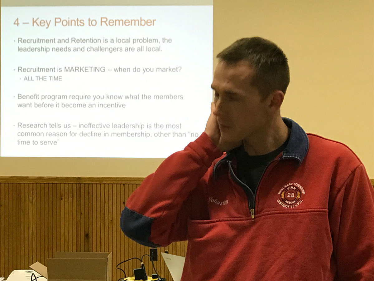 Fire Chief Brad Johnston at a recruitment and retention seminar in Edinboro