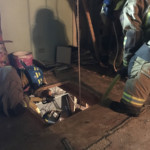 firefighters lift downed firefighter 150x150 - Double Horse Shoe Rescue Drill