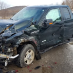 front end damage Ford pickup 150x150 - Cochranton Road Accident with Injury and Entrapment