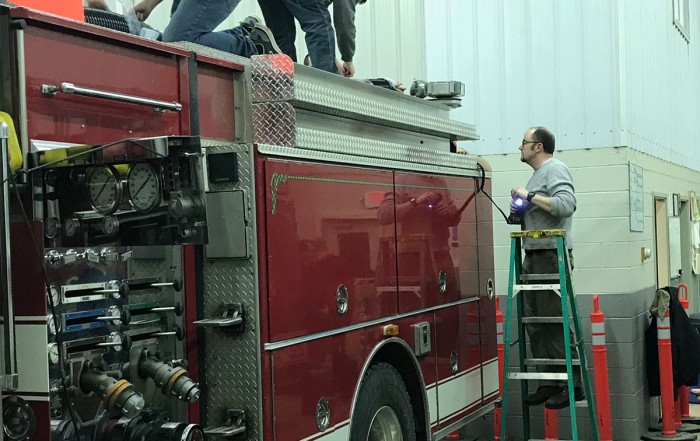 Firefighters replace 28-11's hard suction trays with an improved design