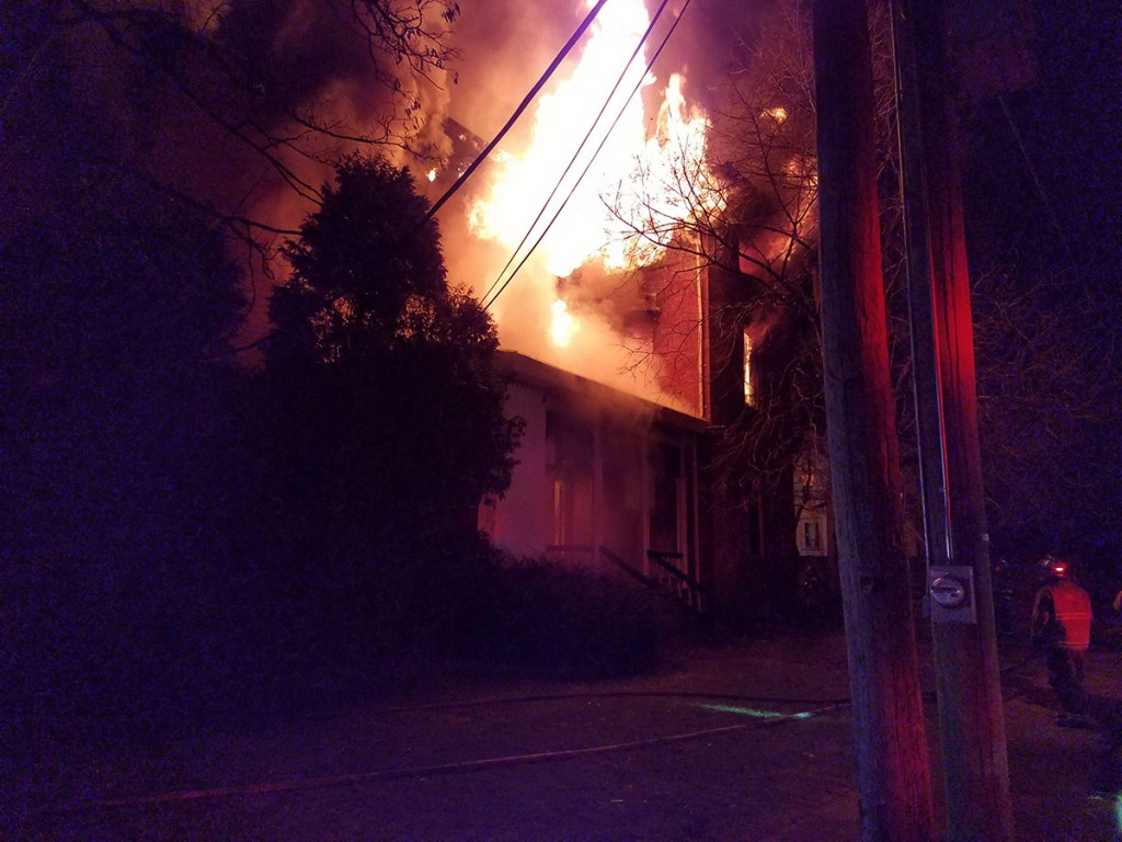 Terrace St apartment building with heavy fire showing on the delta side