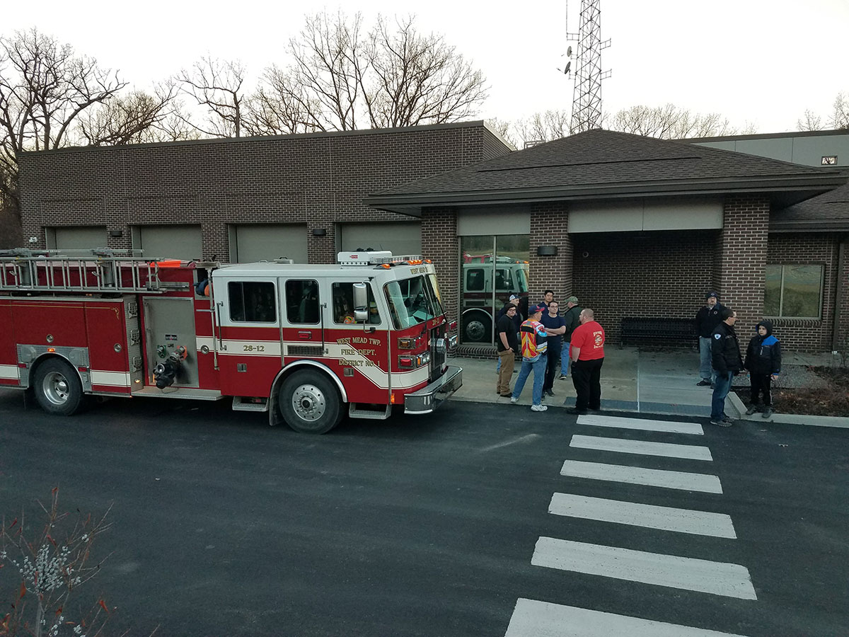 Engine 28-12 outside the Crawford County 911 center on Pine St