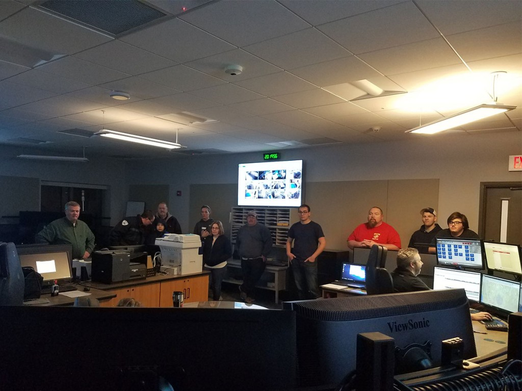 Kevin Nicholson leads a tour of the 911 dispatch center on Pine Street