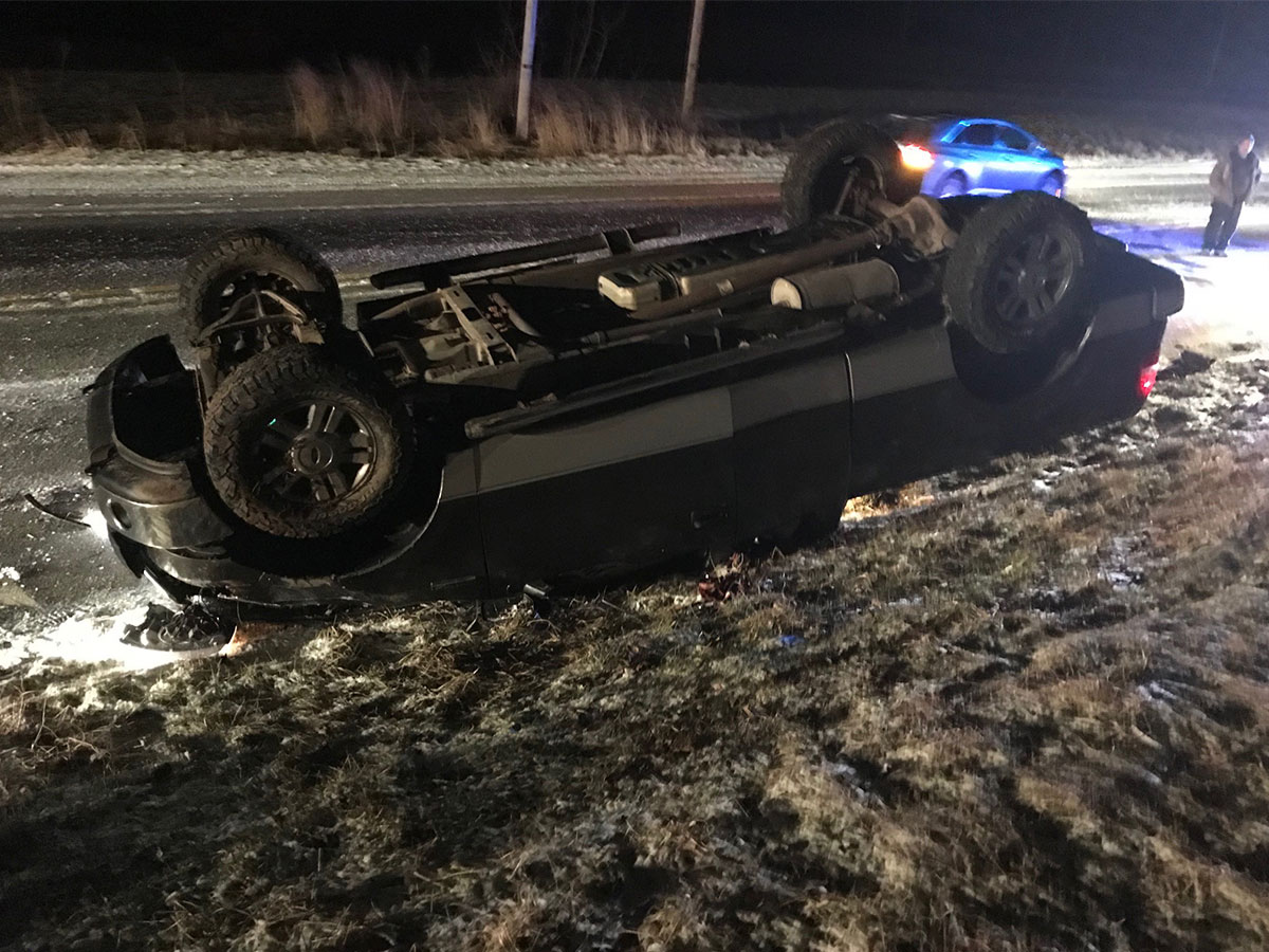 Single vehicle rolled over in an accident on Cochranton Road