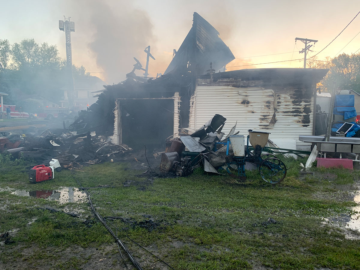 Rear of Eagle Nest Pizza building in Linesville, destroyed in an overnight fire