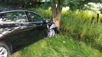 Passenger vehicle into a tree along Pettis Road