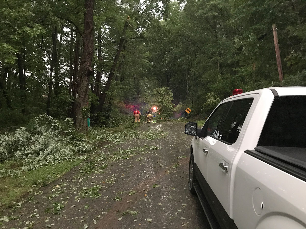 Firefighters remove downed trees blocking Franklin Pike