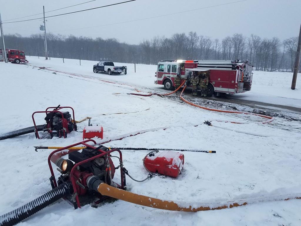 28 11 portable pump setup 1024x768 - Shop Fire, Assist to Cochranton
